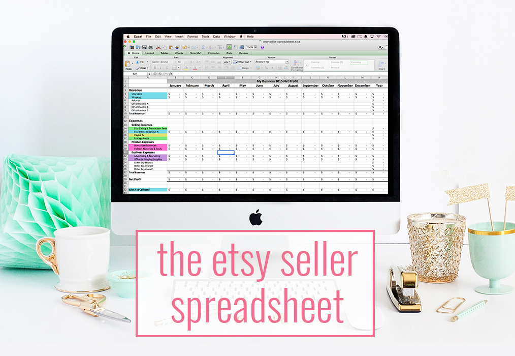 The Etsy Seller Spreadsheet By Paper + Spark