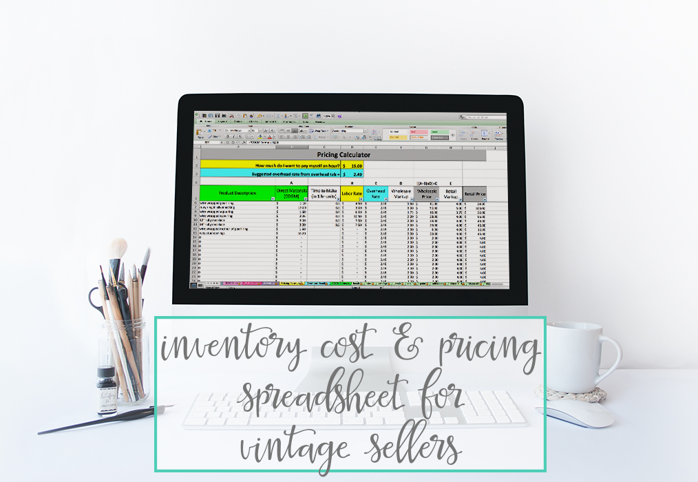 Inventory Cost & Pricing Spreadsheet For Vintage Sellers
